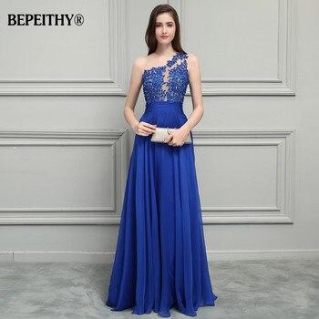BEPEITHY Royal Blue Chiffon Long Prom Dresses 2019 One Shoulder Lace Vintage Evening Dress Vestidos De Festa 3