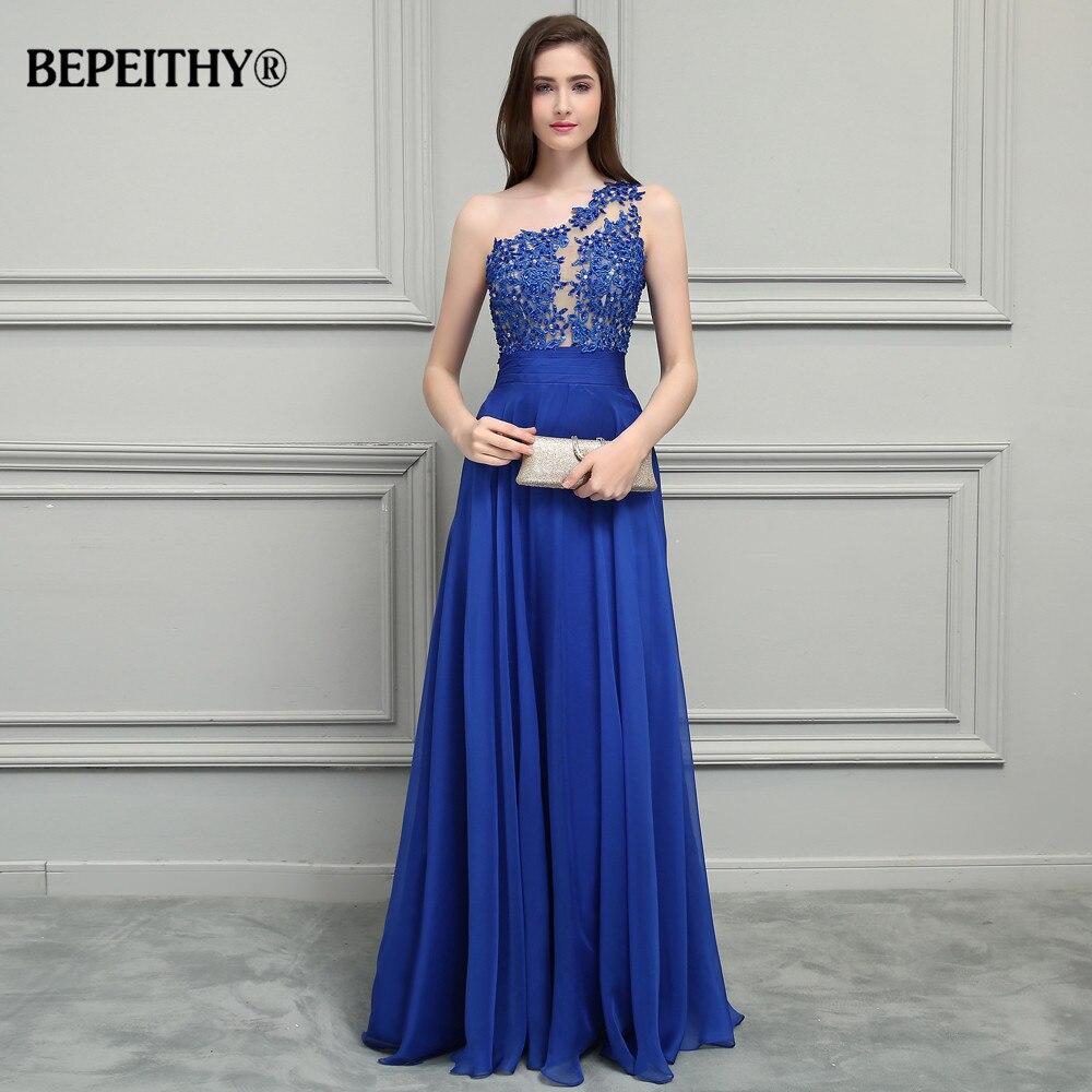 BEPEITHY Royal bleu mousseline De soie longues robes De bal 2019 une épaule dentelle Vintage robe De soirée Vestidos De Festa - 3