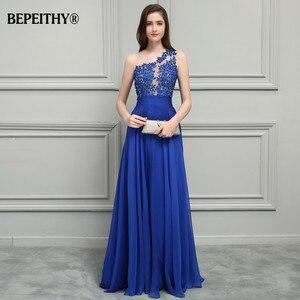 Image 3 - Bepeithy royal vestido de baile, azul chiffon longo vestidos de festa 2020 um ombro renda vintage