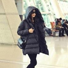 Winter Plus Size 5XL Jacket Women Medium-Long Hooded Casual Warm Parkas Coat Thick White Duck Down Jacket Casaco Feminino MZ1182
