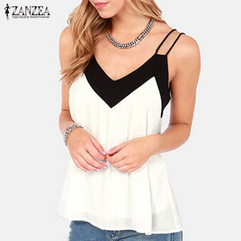 Zanzea summer style 2017 women sexy v neck casual sleeveless halter blouse shirts loose chiffon tank
