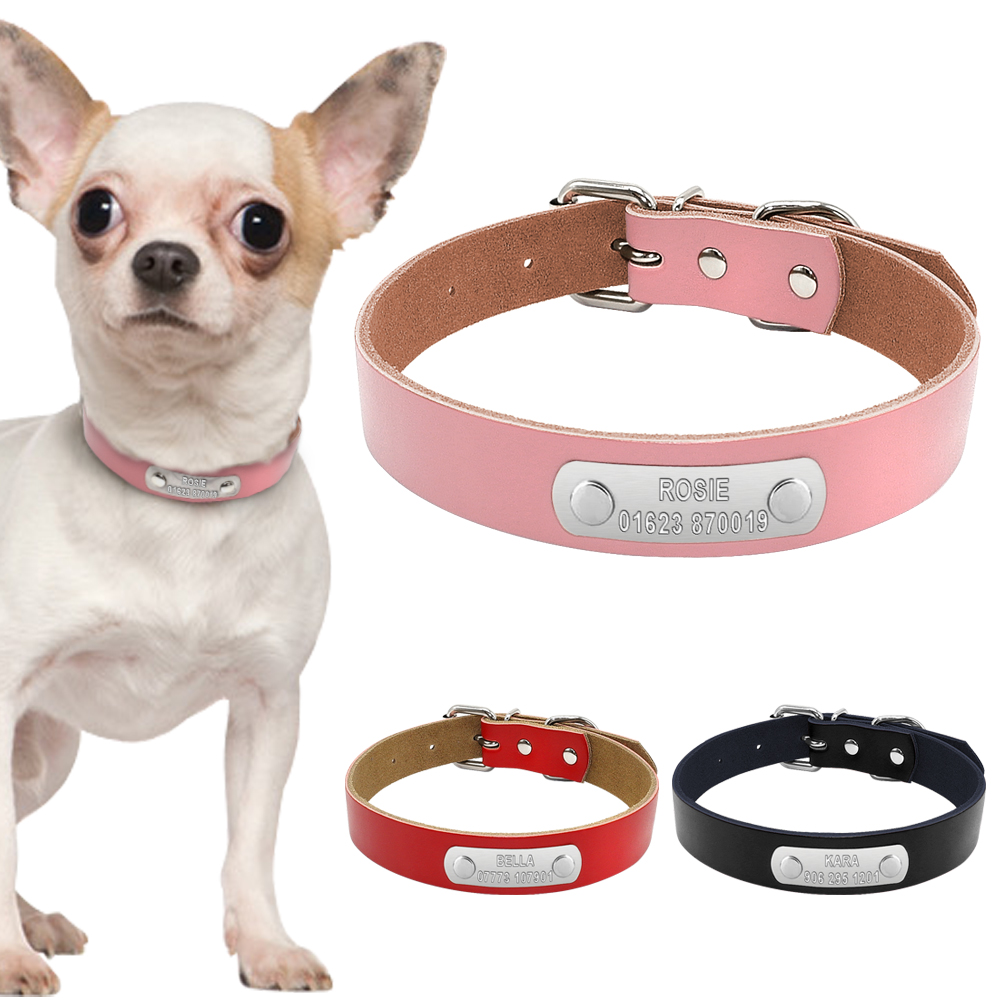 Leather Personalized Dog Collar Custom Engraved Laser Phone Number Nameplate ID Collars Metal Buckle For Puppy Dog Cat