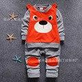Горячая распродажа 2016 новое поступление медведь мультфильм дети мальчик комплект одежды, 100% хлопок полный рукав мода детская одежда комплект