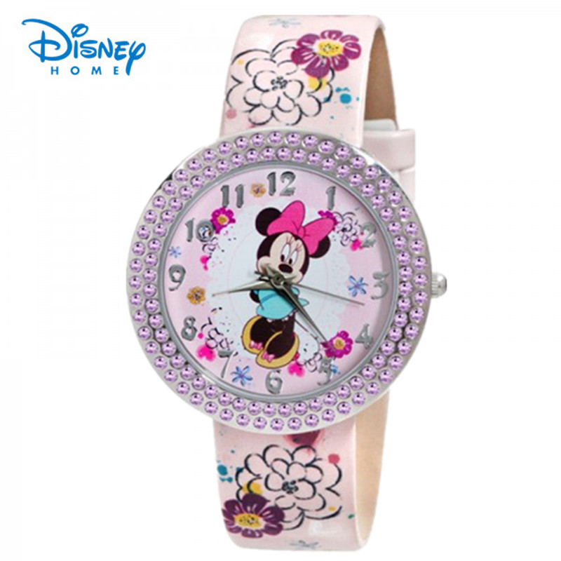 100% Genuine Disney Brand watches Minnie Frozen Sofia Princess watch printing Leather strap Casual watch relogio masculino 91402