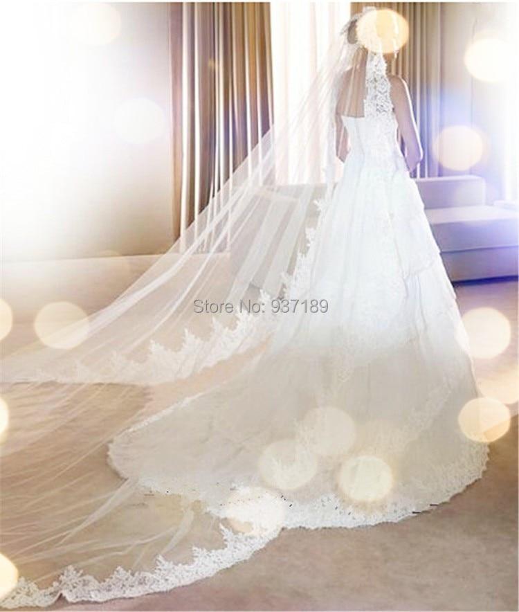 Соборная слоновая кость и белая свадебная фата 300 см Кружева Фиолетовый Длинные свадебные аксессуары, фата Acessorios Para Noivas