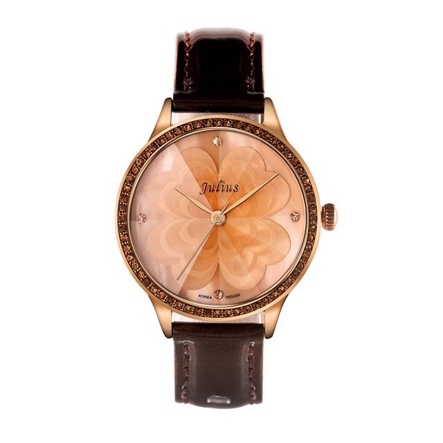 Luxury Brand JULIUS Fashion Ladies Leather Strap Quartz Watch