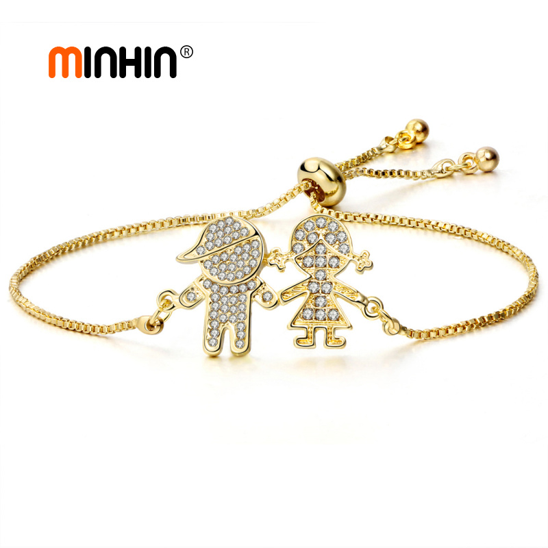 MINHIN Fashion Adjustable Bracelets For Women Boy and Girl Design Crystal Charm Bracelets Wedding Jewelry Gift Pulseras Mujer - Click Image to Close