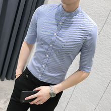 Summer blue striped slim sleeve shirt mens fashion England casual youth collar five-point men