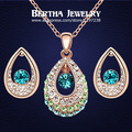 Real Gold Plated Jewelry Sets Crystal From Swarovski Vintage Indian Earrings Pendant Necklace Wedding & Engagement Jewelry