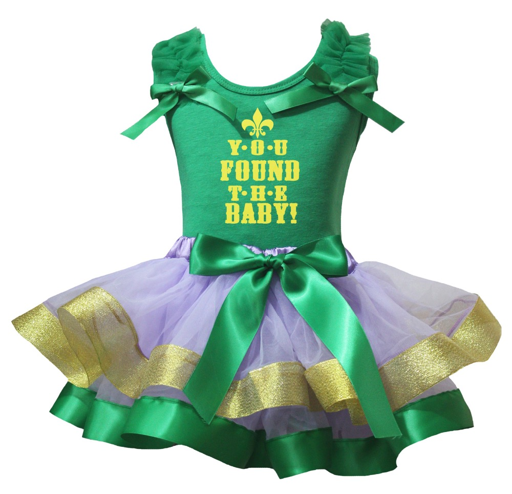 Green Shirt Lavender Green Gold Petal Skirt Girl Outfit Set Dress You Found The Baby St Patrick's Day Costume Nb-8y LKPO0070 xmas rhinestone santa baby top green white dot red skirt baby girl outfit 1 8y mapsa0048