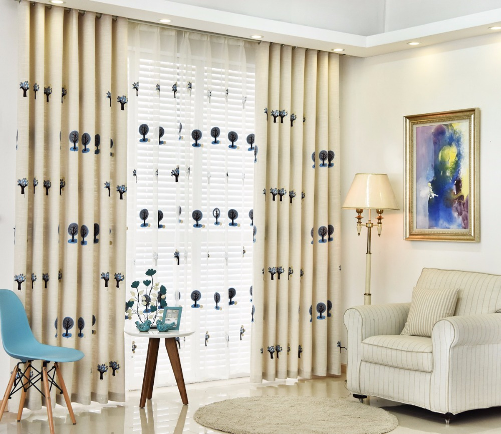 Kids Curtain For Living Room Bedroom Tree Pattern Design Window Curtains Baby Room Ready Made Blackout Curtain Fabric AG040&20-in Curtains from Home & ...
