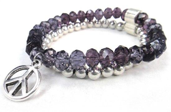 Новое поступление, 8 мм, блестящий серебряный хрустальный стеклянный браслет с подвеской мира, Женский растягивающийся браслет - Окраска металла: purple