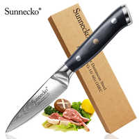 "Sunnecko 3.5"" Fruit Paring Knife Damascus Razor Sharp Blade G10 Handle Japanese VG10 Steel Kitchen Knives Chef's Tool Cut"