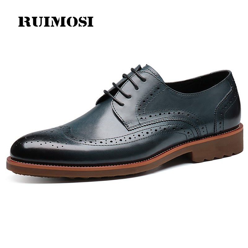 RUIMOSI British Designer Man Formal Dress Shoes Vintage Genuine Leather Oxfords Round Toe Men's Wedding Party Brogue Flats HJ47
