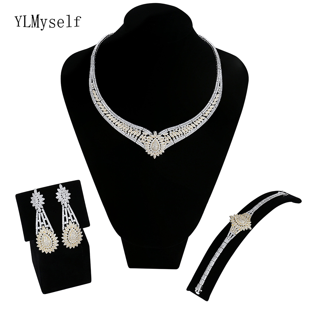 Luxurious Bridal jewelry sets Necklace+Bracelet+earrings+free sizes ring large wedding party 4pcs Saudi Arabia jewellery set canleen r8 computer gaming headset deep bass stereo computer game headphones with microphone led light pc professional gamer