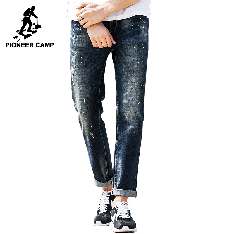 Pioneer Camp 2017 New jeans men brand clothing fashion male denim trousers top quality casual denim pants for men 655107 aismz new high quality jeans men casual fashion trouser slim fit ankle length scratched denim pants male brand clothing 60006