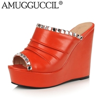 2018 Новый Плюс Большой Размеры 32–43; черный цвет оранжевый белый со стразами модные, пикантные на высоком каблуке летние девушки Женская обув...