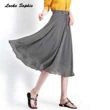 1pcs Hight waist skirts Womens A-line 2019 Summer Chiffon Dot prints Splicing belt skirt Ladies Skinny Girls