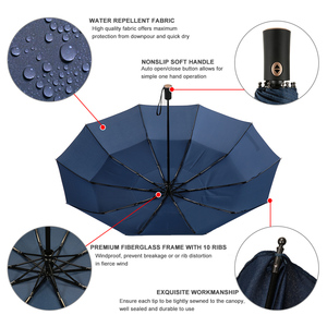 Image 2 - Auto Open Close Umbrella Windproof Double Canopy Umbrella Automatic Folding Travel Golf Umbrella with 10 Ribs