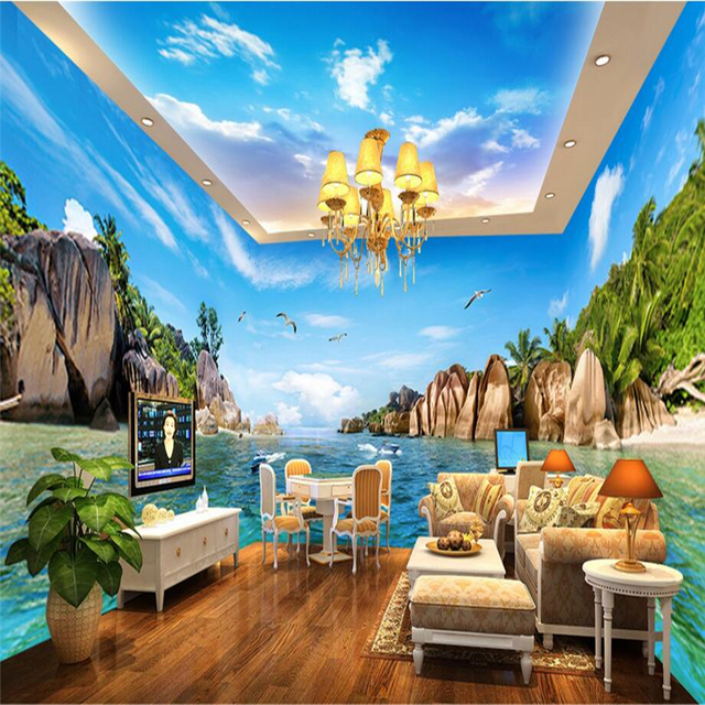 Mediterranean Style Houses With Ocean Views: Beibehang Mediterranean Hawaii Sea Photo Wall Paper Large