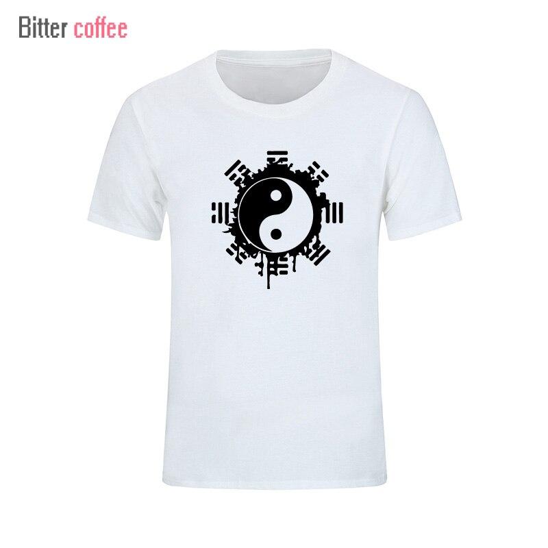 Модная летняя футболка, мужские топы, Китайский Тай Чи, чернила, Ying Yang, хлопковая одежда с принтом, футболка с короткими рукавами, футболки