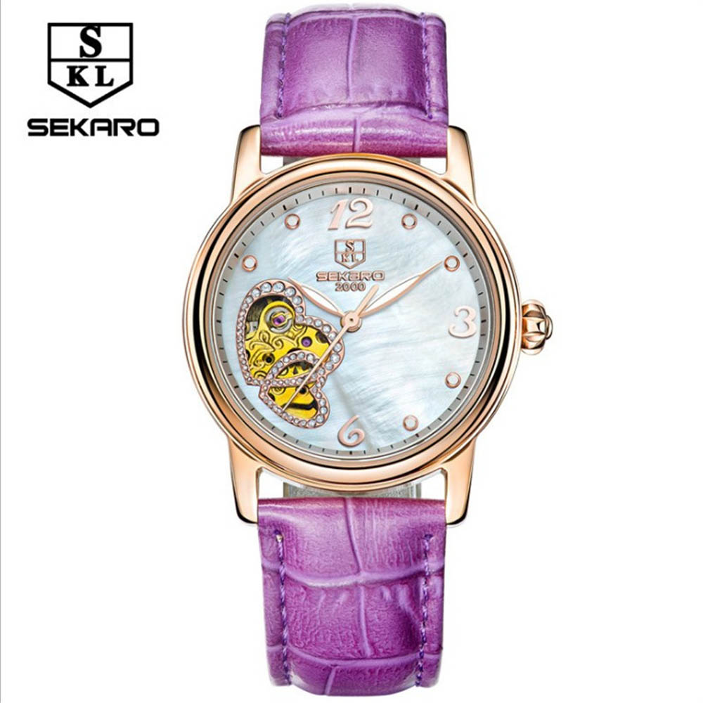 Mechanical Watch Women SEKARO Brand Hollow Skeleton Automatic Self-Wind Leather Watch Casual Wristwatches Relogio femininos winner women luxury brand stones skeleton leather band ladies watch mechanical hand wind wristwatches gift box relogio releges