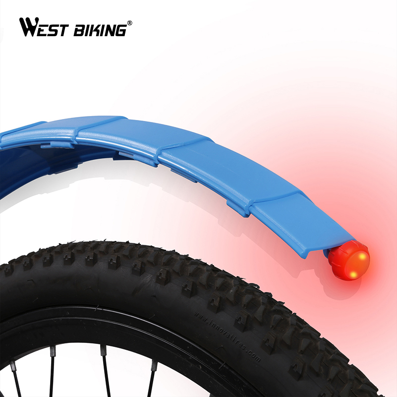 WEST BIKING Telescopic Folding Bicycle Fenders With Taillight Quick Release MTB Front Rear Mudguards Cycling Parts Bike Fenders