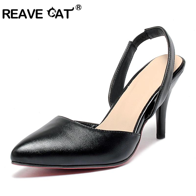 860b8ae25 REAVE CAT spring summer High Heels Sandals lady Pumps classics slip on Shoes  sexy Women party shoes black Wedding Slingbacks