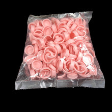 1000pcs pink glue Rings Disposable Permanent Makeup Ring Microblading Pigment Tattoo Ink Holder For Eyebrow Lip Tattoo make up(China)