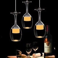 25CM 3Wx3 LED Lights Cup Wineglass Modern Pendant Light Lamp for Living Room Bar Saloon Dining Room Free Shipping