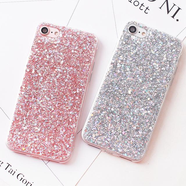 f5e13ffa55 Luxury Shinning Glitter Cases For iphone 6 6S 8 Plus X 5SE 5 5S Soft Love  Heart Phone Silicon TPU Capa Fundas for iPhone 7 7Plus