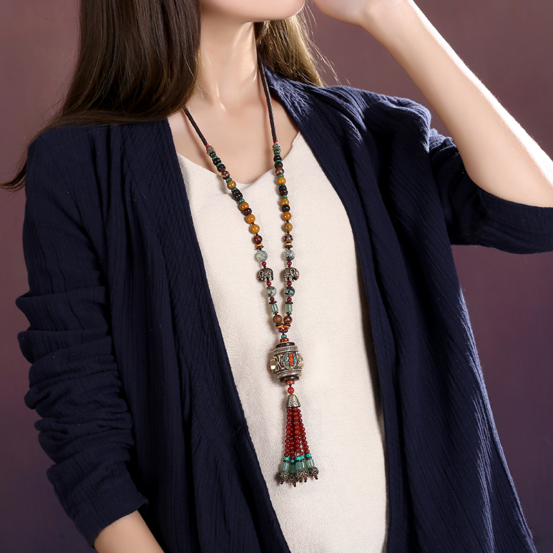 Long necklace sweater chain retro Nepal pendant national wind jewelry accessories winter female ornaments dermspe 2017 new autumn winter long jumper sweater chain korean neck necklace necklace sweater accessories pendant