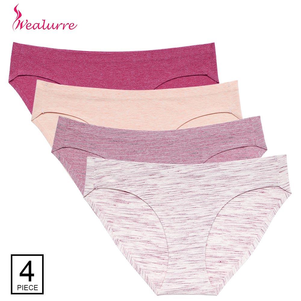 4Pcs/Lot Women's Underwear Cotton Briefs Women Sexy Solid Low Waist Seamless   Panties   Female Invisible Bikini Lingerie Underpants