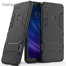For Xiaomi Mi 8 Lite Case Cover Luxury Iron Man Stand Case Hard Armor+Soft Silicone TPU Cover for Xiaomi Mi 8 Lite mi funda(China)