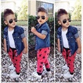 3pcs Boys Colthing set Denim Jacket+White Vest+Red Pants Denim Boy Clothes Sets Jeans ensemble garconfor infant boys 2-8Years