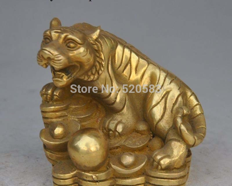 Free Chinese Fengshui Brass Wealth Money Coin Yuanbao Ingot Zodiac Tiger Lucky Statue Fast