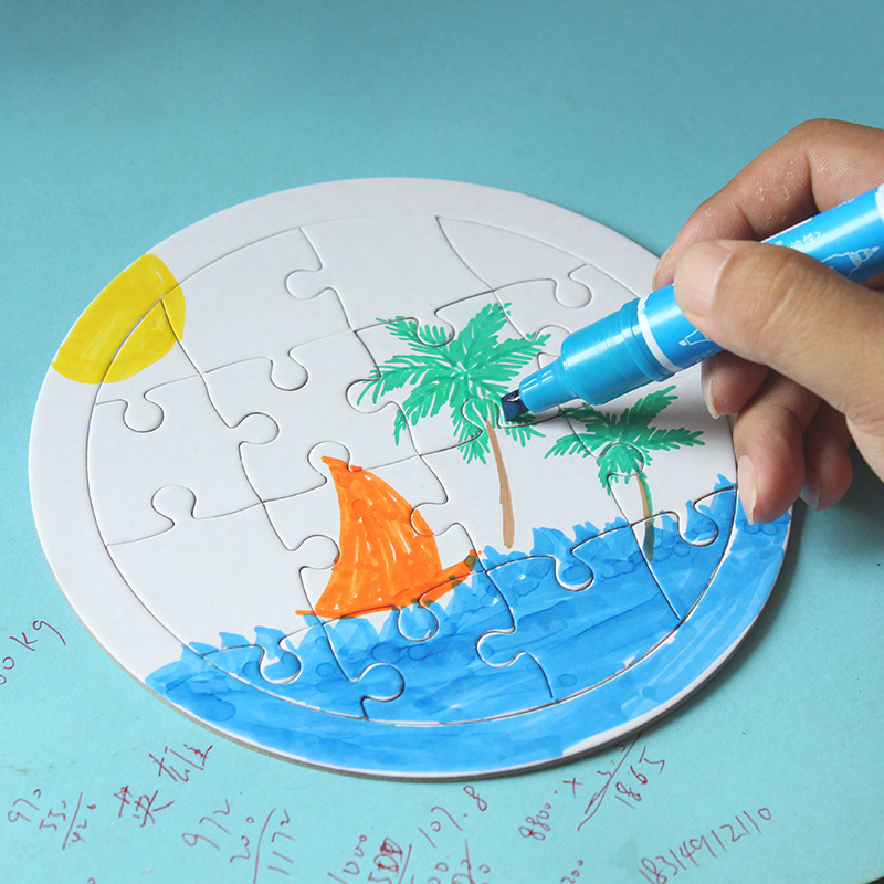 Blank Coloring Puzzle Paper White Mold Board Children DIY Production Puzzle Coloring Graffiti Painting Children Educational Toys
