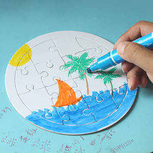 Educational Toys Puzzle Children Diy Paper Painting Coloring White Blank Mold-Board Graffiti