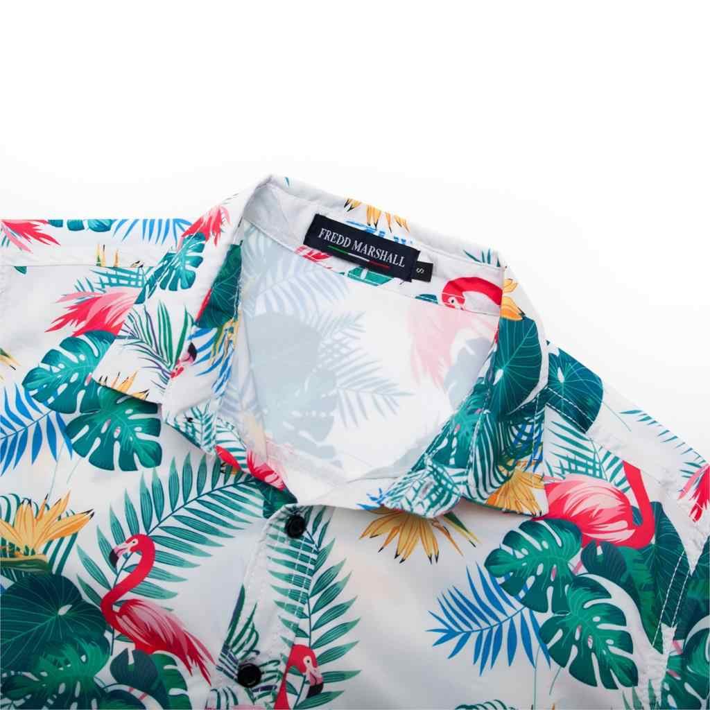 Fredd マーシャル 2019 夏新ビーチハワイシャツメンズ長袖フラミンゴシャツカジュアルフローラルシャツブランド服 55898