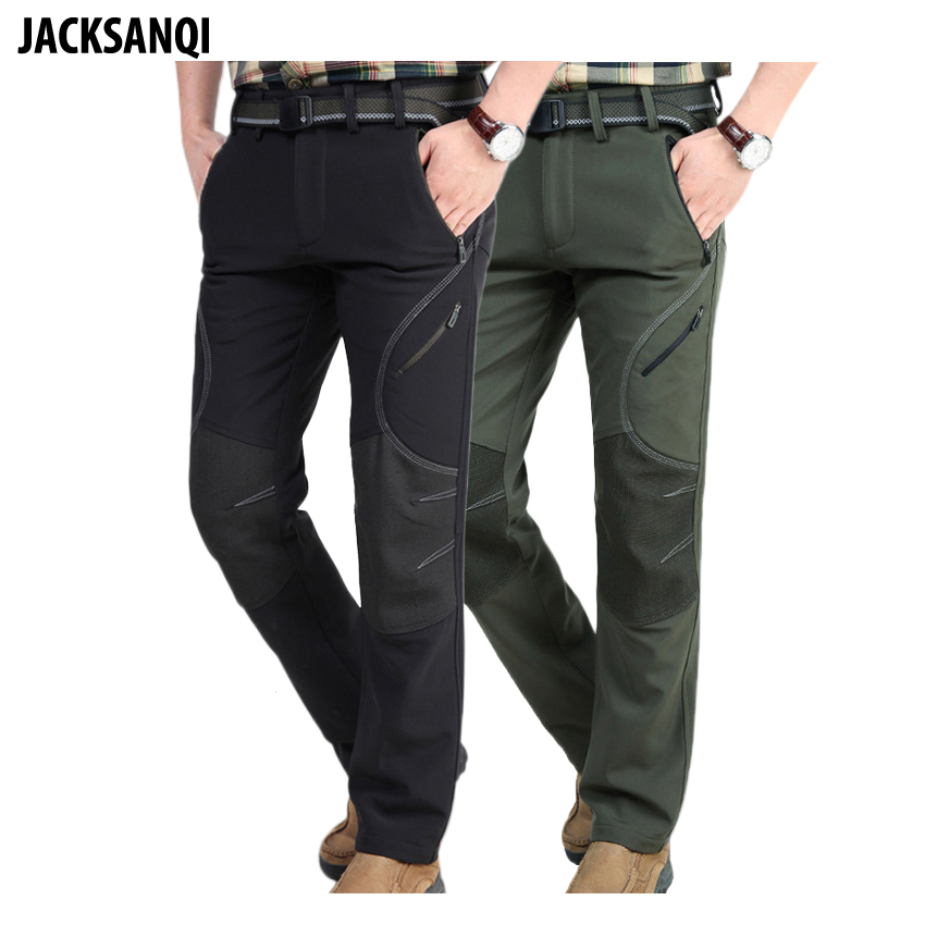 JACKSANQI Men's Winter Softshell Fleece Ski Hiking Pants Outdoor Wear Sports Windproof Waterproof Thick Warm Male Trousers RA035