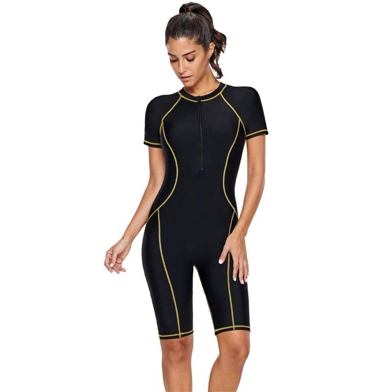 Новинка 2019, спортивный женский купальник с молнией спереди, короткий рукав, Цельный купальник, боди, пляжный купальный костюм