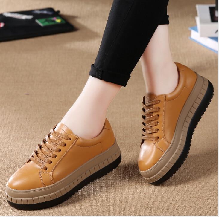 Primavera 2017 de las mujeres de cuero Genuino zapatos Planos creepers zapatos d