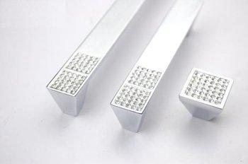 10Pcs Clear Crystal Kitchen Cabinet Drawer Pulls Handles Zinc Alloy Wholesale(C.C.:96,Length:115mm)