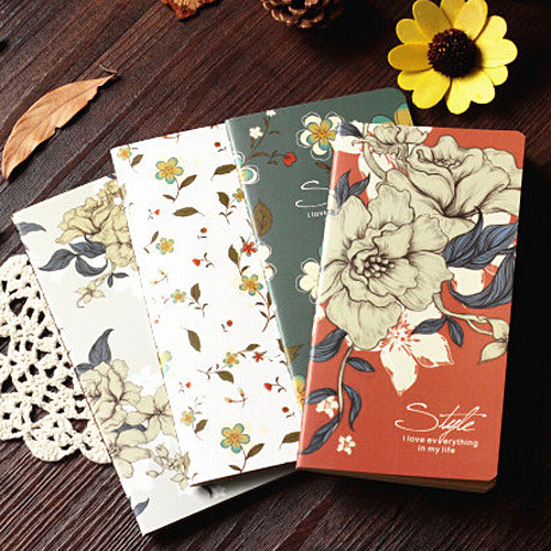 1PC Vintage Flowers Printed Cover Notebooks Kawaii Agenda Diary Records for Kids Stationery Office School Supplies (tt-1715)