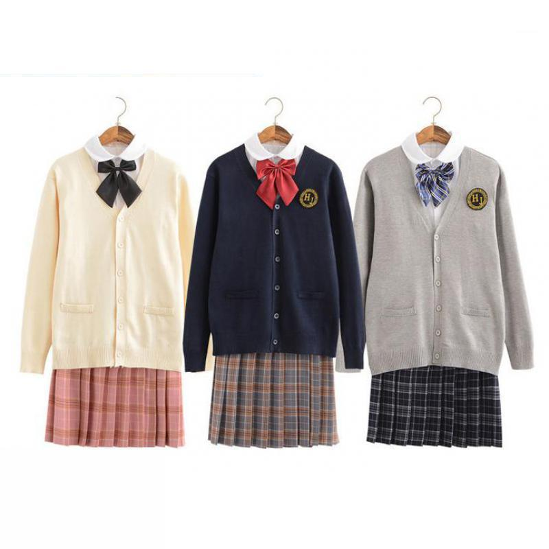 2019 Japanese School Girl Fashion Jk School Uniforms Plaid Skirt Cardigan Sweater Round Neck Long Sleeve Shirt Short Skirt Suit