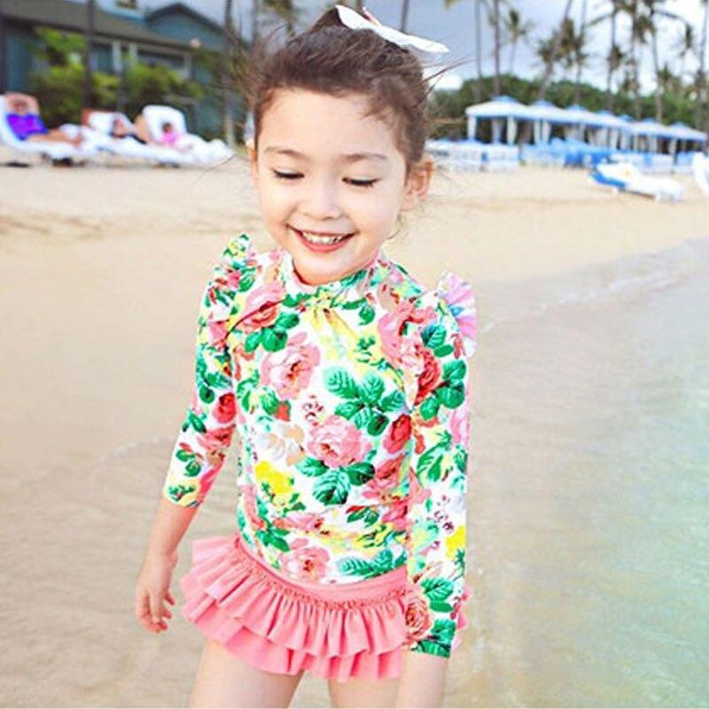 3-15 שנים בנות בגד ים הדפסת ילדי ילדי שרוולים ארוך ילדי חליפת בגדי ים קיץ חוף ים בגד ים ילדה 353