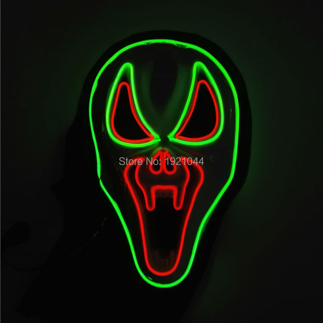 EL wire Masks Sound activated Halloween Shock Mask EL wire Festival LED Neon Glowing light Party dance DJ Carnival Masks parts