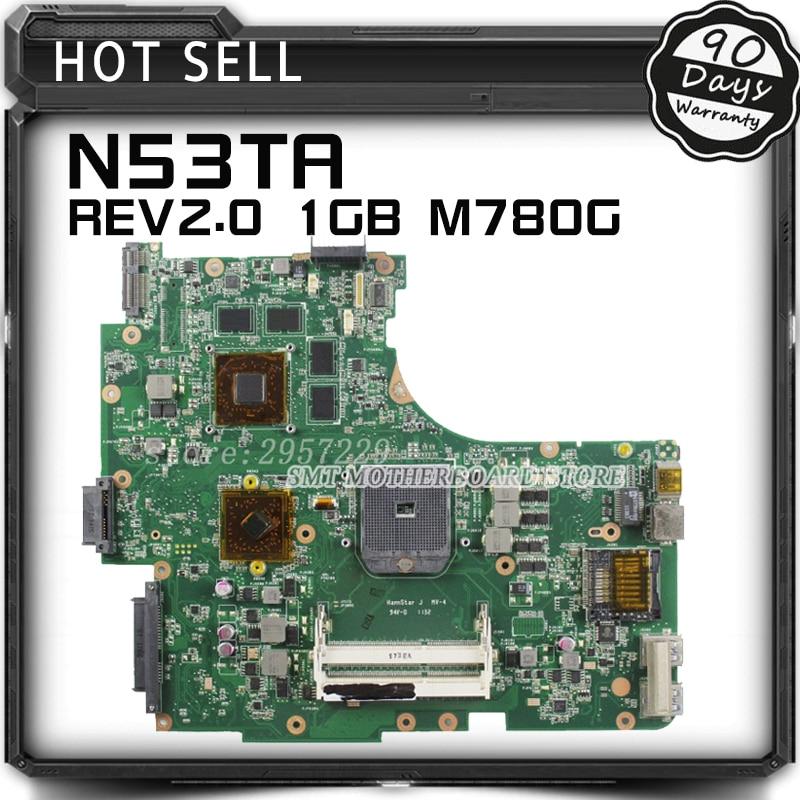 Wholesale REV:2.0 For N53TA N53TK N53T laptop motherboard 1GB USB3.0 216-0810005 SOCKET FS1 M780G 100% DDR3 VRAM Tested for asus u36jc motherboard with i3 380m 390m processor gt310m with 1gb ddr3 vram 100