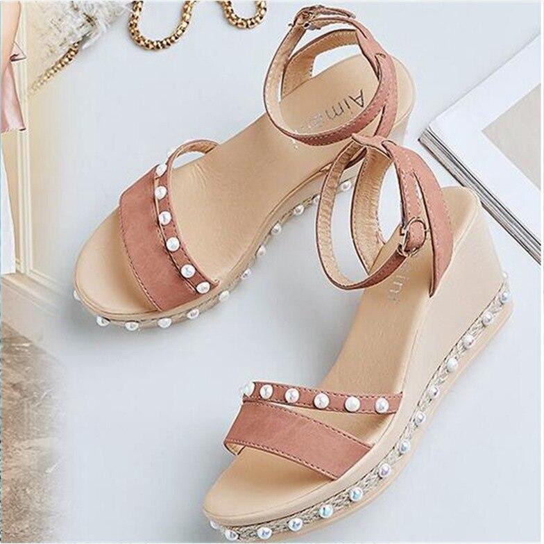 kaki Noir Avant Mode Cheville forme Plate D'été Sandales De Solide Boucle Femmes rose Coins Sangle Chaussures Med Perle Arrière F8q5UxwaP