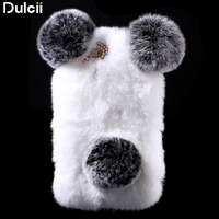 For IPhone 6 Plus 5 5 Inch Hard Bag Cute Panda Shape Warm Rabbit Fur Pearl